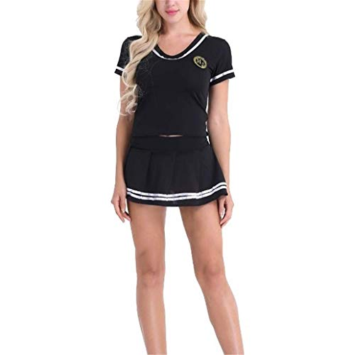 NAVARCH Ladies Cheerleader Fancy Dress Outfit Uniform Women's Schoolgirls Halloween Club Dress Costume American High School Musical Sports Cheer Leader Costume Fancy Dress