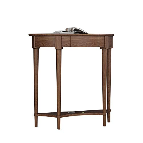 HANSHAN Console Table,Solid Wood 2 Tier Entrance Table Semicircle Side Cabinet Decoration Table Side Table 34 × 12 × 32 Inch (Color : Walnut)