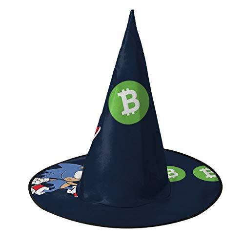 NUJSHF Sonic The Hedeghog Chasing Bitcoin Gorro de bruja de Halloween Unisex Disfraz para vacaciones Halloween Navidad Carnavales Fiesta
