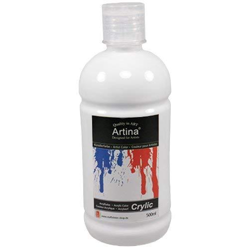 Artina Crylic Acrylfarben - hochwertige Künstler-Malfarbe in 500 ml Flaschen in Titanweiss & weitere Farben