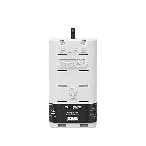 Pure ChargePAK B1 Akkusystem (Wiederaufladbarer Akku, 20 Stunden Wiedergabe, Lithium-Ionen-Batterie, 4200 mAh, für Pure One Mini Serie und Evoke D1/D2/H2/H3 Digitalradio), Weiß