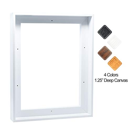 P&L ART. Floating Frame for 24x36 Inch Canvas Painting 1-1/4 Inch Depth (4 Colors), White Frame