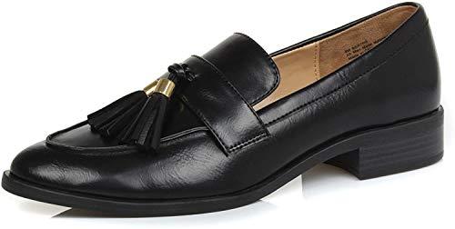 DUNION Women's Bertha Comfortable Tassel Slip Low Heels Almond Toe Casual Penny Loafers,Bertha Black,6 M US