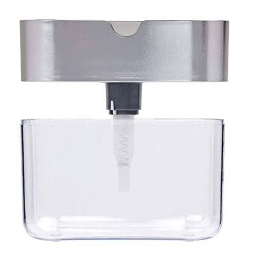 VEZARON Best Soap Dispenser for Kitchen + Sponge Holder 2-in-1 - Innovative Designed - Premium Quality Dish Soap Dispenser - Counter Top Sink Dispenser-New Stock Fast Shipment (Silver)