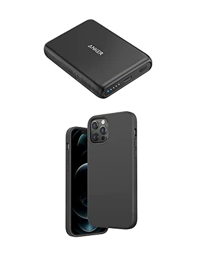 Anker Magnetic Silicone Case, 6.7 Inches for iPhone 12 Pro Max (Dark Gray) Magnetic Wireless Portable Charger, PowerCore Magnetic 5K Wireless 5,000mAh Power Bank with USB-C Cable