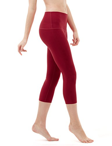 TSLA Women's Capri Yoga Pants, Workout Running Tights, 4-Way Stretch Leggings with Hidden/Side Pocket, Capris Yoga Wine, Large
