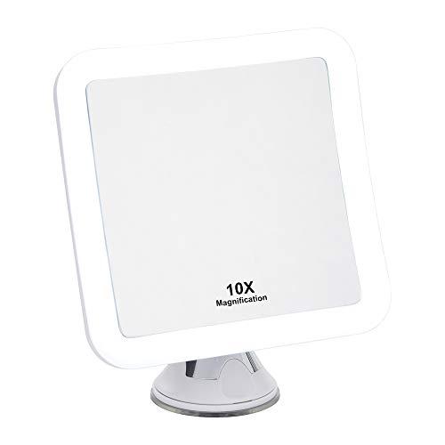 10X Espejo de Maquillaje con Aumento de con Luces LED - Ventosa de Bloqueo Fuerte, rotación de 360°, Compacto, portátil, Iluminado Mesa, baño, Espejo de Viaje - 16,2cm de Ancho
