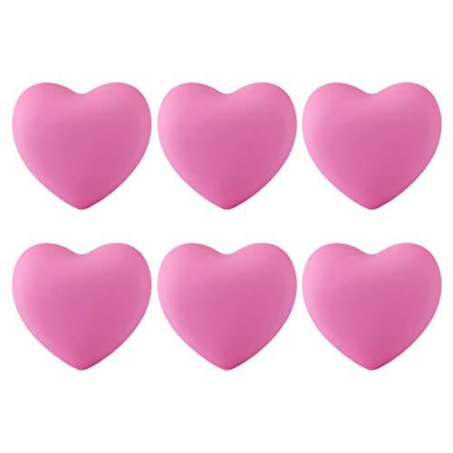 Haunen 6er Set Möbelknöpfe Kinderzimmer Möbelgriff Kinder Set Schubladenknopf Schrank Kommoden Ziehgriffe Herzform, 4×3,8×2,4cm (Rosa)