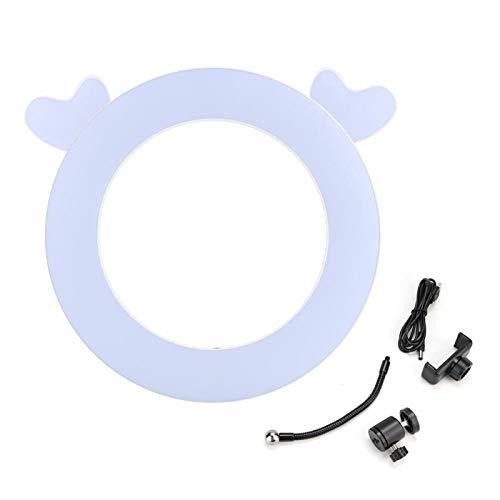 Lámpara de Relleno de Alto Rendimiento con Soporte para Clip de teléfono Mano de Obra estándar Maquillaje de Estudio Selfie Anillo de luz LED Luz de Relleno para Interiores(White Deer)
