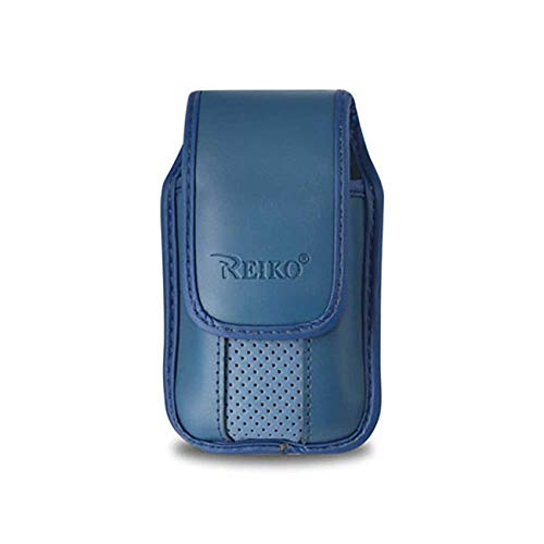 Blue Leather Case with Pinch Clip for ZTE z432 Phone