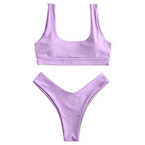 ZAFUL Women Swimsuit Scooped Padded Bathing Suit High Cut Bikini Set