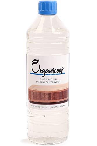 Organicook Mineralöl in Lebensmittelqualität, 1-Liter-Flasche, Schneidebrettöl, sicher für Holz und Bambus, Schneiden, Servierbretter, Metzgerblock, Holzutensilien