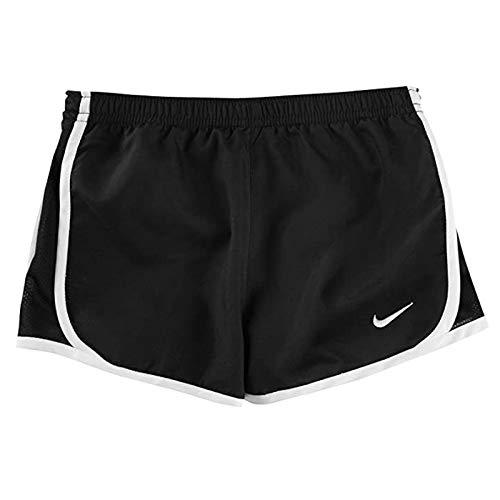 Nike Girls Dry Tempo Running Shorts Youth (Small, Black/White)