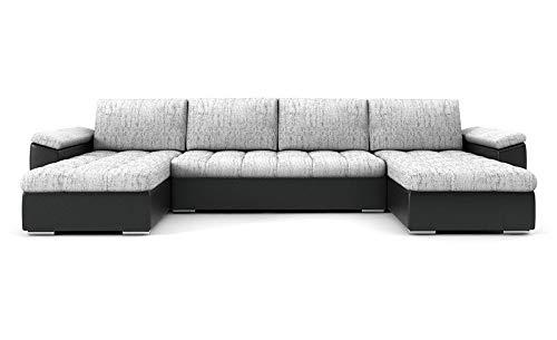 PM Ecksofa Schlaffunktion Bettfunktion Couch U-Form Polstergarnitur Wohnlandschaft Polstersofa mit Ottomane Couchgranitur - NICO-U (Silber + schwarzes...
