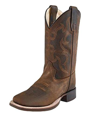 Old West Brown Children Boys Leather Classic Cowboy Boots 10.5D