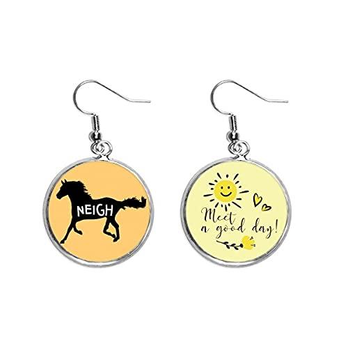 Mustang Running Dash Neigh Ear Drop Sun Flower Pendiente Joyería Moda
