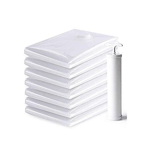 WYJRF Bolsa de Almacenamiento: Paquete de 8 Bolsas de Almacenamiento al vacío, Bolsas Reutilizables para Ahorrar Espacio, Cierre de Cremallera Doble y válvula de Fuga, Bolsas de almacena