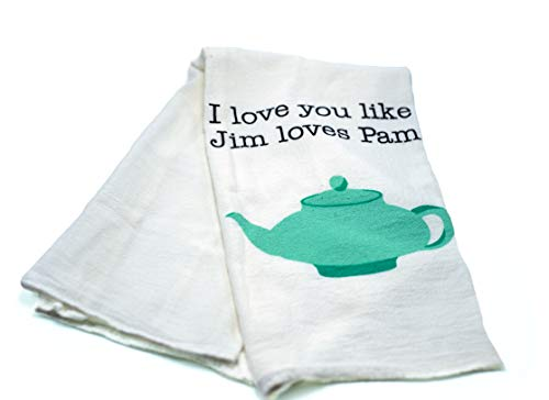 """The Office Merchandise – Pam and Jim Teapot Tea Towel – CoolTVProps – The Office TV Show Kitchen Cloth – 28"""" x 29"""""""