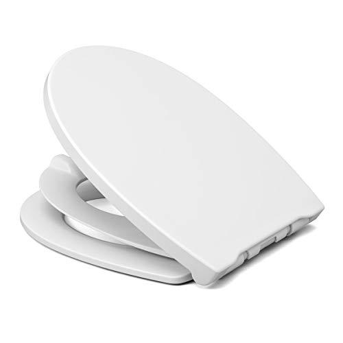 LUVETT® WC-SITZ C490 Family oval mit Kindersitz-Einlage, Toilettendeckel für Kinder & Erwachsene mit Absenkautomatik, TakeOff EasyClean® abnehmbar aus Duroplast, Farbe:Weiß