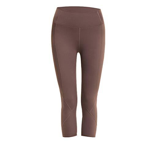 Lankfun Pantalones de Yoga de Control de Abdomen de Cintura Alta,Las Nalgas Desnudas de Cintura Alta se Pueden Usar Fuera de los Pantalones de Yoga-B_Large,Mallas de compresión de Control de Barriga