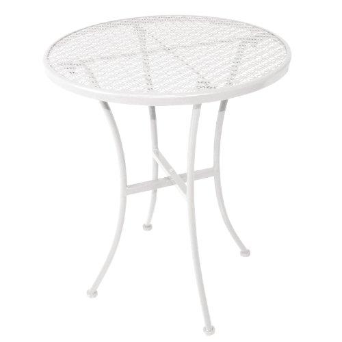 Table Bistro Ronde Blanche En Acier Ajouré 600mm Couleur : Blanc 710(H)X 600(L)X 600(P)mm