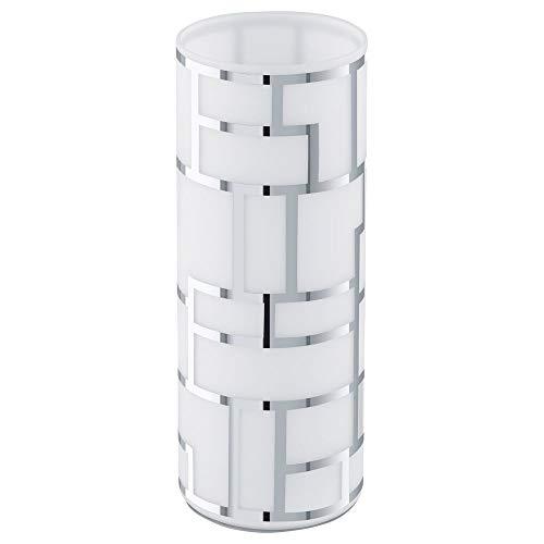 Tischleuchte & Nachttischlampe Tischleuchte mit Linien-Muster und Kabelschalter weiß-satiniert BAYMAN E27 Glas | 1-flammig