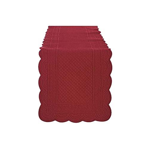 BLANC MARICLO' Camino de mesa rectangular de algodón rojo 45 x 140 cm