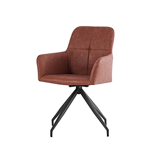 ZOONFA Dining chair Living room chair Faux leather office chair Swivel chair office chair armchair Desk chair Relax chair with backrest faux leather rotatable (1, Brown)
