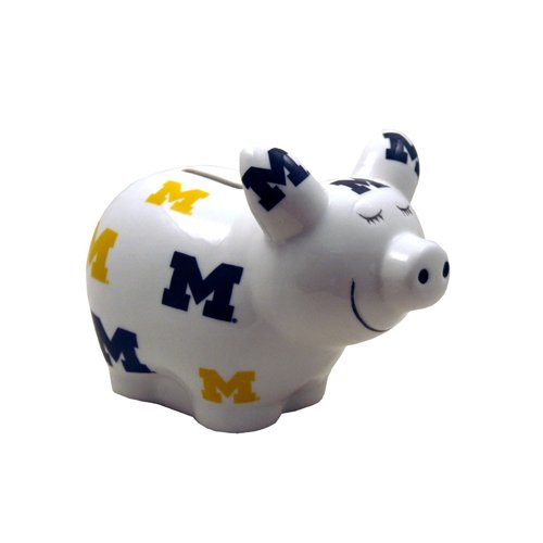 Game Day Outfitters NCAA Michigan Wolverines Logo All Over Piggy Bank, One Size, Multicolor