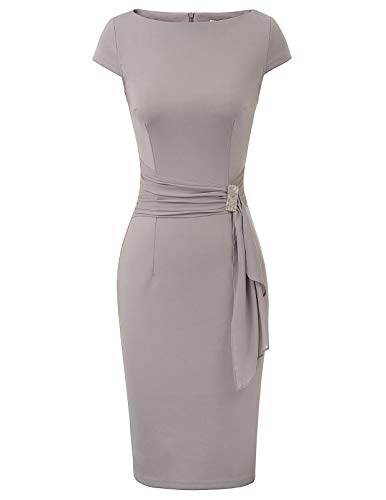 GRACE KARIN Vintage Kleider Damen Knielang Rockabilly Kurzarm cocktailkleid CL027-2 L