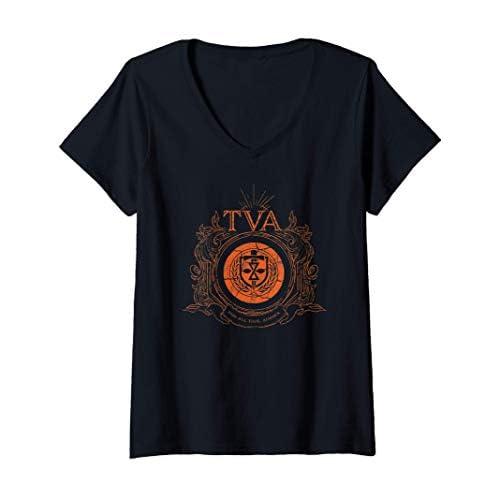 Donna Marvel Loki Time Variance Authority TVA Badge Maglietta con Collo a V