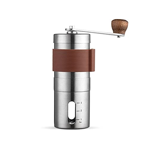 Raxinbang coffee machine Coffee Maker Portable Hand Crank Coffee Maker 304 Stainless Steel Bean Grinder Manual Grinder Black Ceramic Movement (Silver)