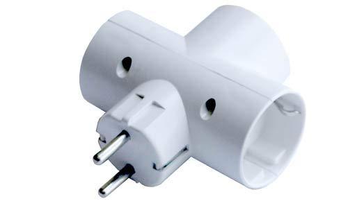 Ferrotech 3-Fach Schuko TT Keramik Adapter 16A-250V, weiß, 0