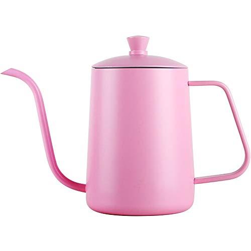 Feixunfan Ausgießer auf der Teekanne 304 Edelstahl Kaffeetropfer Kaffeekessel Handkaffeekanne Bier Extraktion Schöne lange Mund Mundstück für präzises Ausgießen 600ml Pink