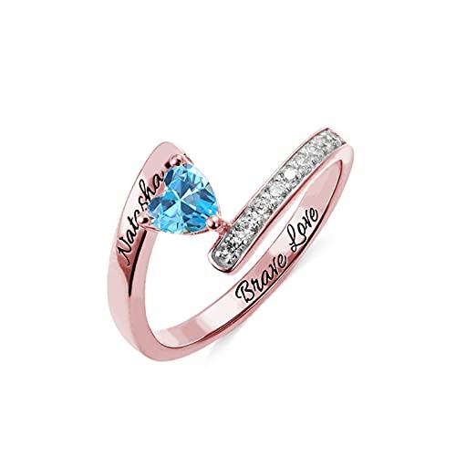 Anillo de promesa personalizado Anillo con nombre de piedra natal del corazón Compromiso para mujeres Aniversario de bodas(Oro rosa 19)