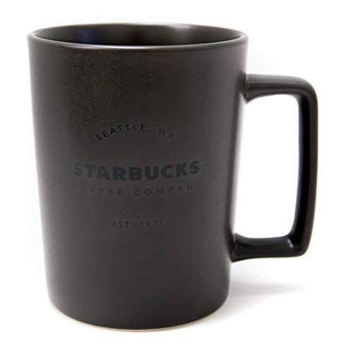 NA Nueva Taza de café con asa de Color Negro carbón Mate de Starbucks Seattle.