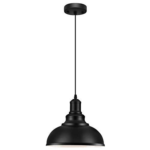 LOEHINLE Pendant Lighting Vintage Industrial Fixtures, Black Metal Chandelier Lights,Ceiling Lamp for Kitchen Home Island Dining Room Bedroom, 11.4 inches