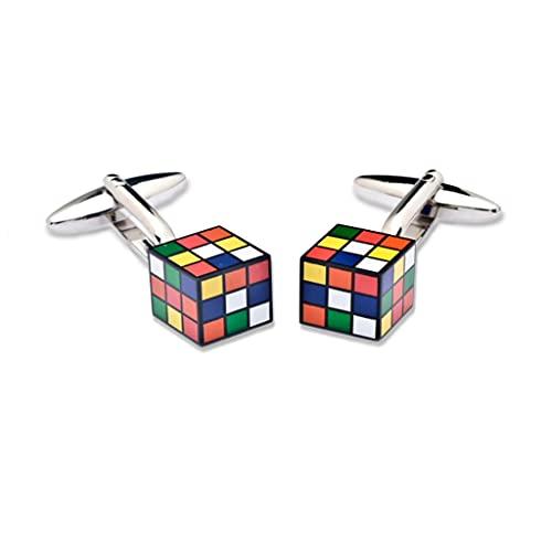 Nosologemelos - Boutons de Manchette pour Homme - Modèle Cube magique - Couleur Argenté - Attache Basculante - Anti-Rouille, Anti-Allergique, Sans Nic