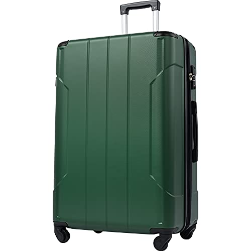 Merax Hardside Spinner Luggage with TSA Lock Expandable Lightweight Suitcase 20inch 24inch 28 inch Available (Green, 24-Checking in)