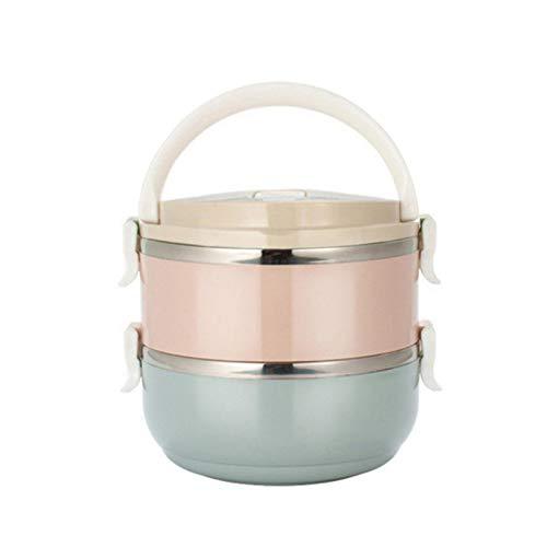 yubin Mehrschichtige stapelbare Edelstahl-Lunchbox, isolierte Lebensmittel-Thermoskanne, Speisebehälter, Lebensmittel-Lagerbehälter-Wärmebox, Warmhaltebox, Essensbox (2-stufig)