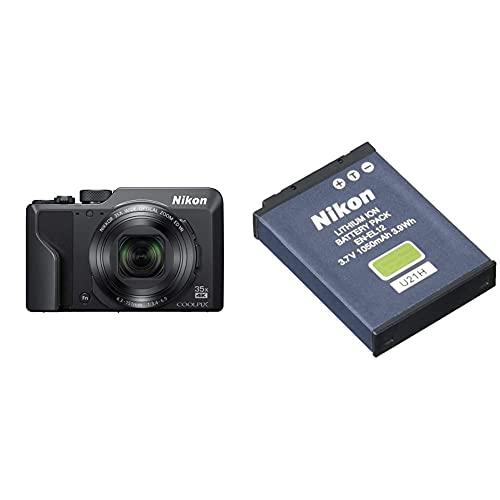Nikon Coolpix A1000 Fotocamera Digitale Compatta, 16 Megapixel, Zoom 35X, 4K Smirino Elettronico Incorporato, Raw (Nrw), Bluetooth, Wi-Fi, Nero & En-El12 Batterie Ricaricabili