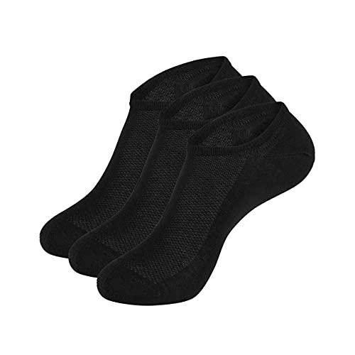 Wool Rockers Merino-Sneaker-Socken, Füßlinge im 3er Pack, für Damen & Herren, für Freizeit & Alltag ideal, atmungsaktive Merino-Sport-Socken (schwarz, 43-47)