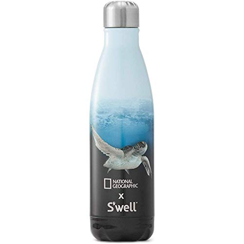 S'well Stainless Steel Water Bottle- 17 Fl Oz- National Geographic Sea Turtle- Triple-Layered Vacuum-Insulated Containers Keeps Drinks Cold for 41 Hours and Hot for 18- with No Condensation- BPA Free