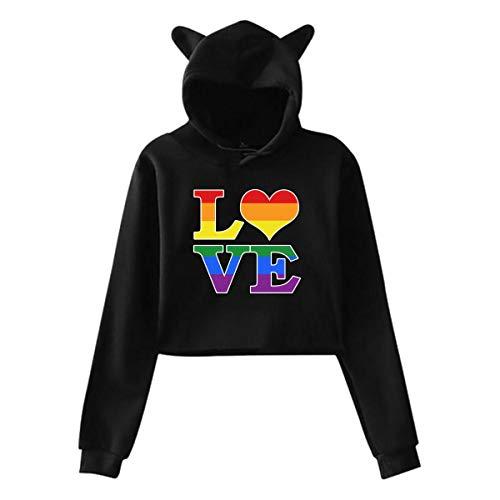 Gay Love Rainbow Heart Gay&Lesbian Pride Girl's Kawaii Cat Ear Crop Top Sweatshirt Jacket Pullover
