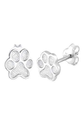 Elli Ohrringe Damen Pfoten Abdruck Hund Katze in 925 Sterling Silber