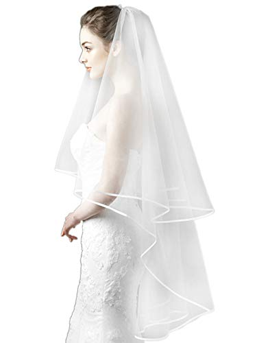Aukmla Bridal Wedding Veil with Ribbon Edge and Hair Pins, 59 Inches (Ivory)