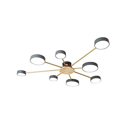 JYDQM Candelabro Minimalista Moderno nórdico, lámpara de Techo LED for Dormitorio, Sala de Estar, Personalidad, habitación de macarrón, Madera más iluminación de Hierro (Size : 6head)