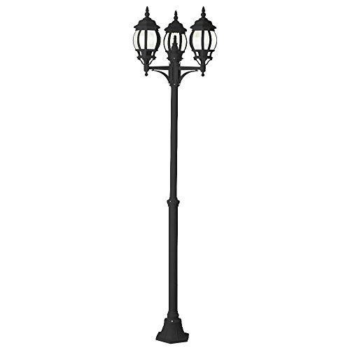 Brilliant 48688/06 Istria Lampadaire Extérieure à 3 Lumières IP23 60 W E27 230 V Noir