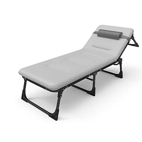 TGTGH Liegestuhl Reclining Patio-stützende Stühle, Büro-einzelne Einfache Faltende Nickerchen-Bett-tragbare Stützende Marschierende Dreifach Faltende Bett-Balkon-rostbeständige Klappstühle Sonnenl