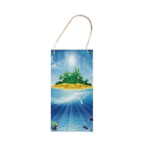 SIGNCHAT Aquarium Nieuwigheid Opknoping Houten Tekenen, Verlaten Tropisch Eiland met palmbomen Diverse Exotische Zee Dieren en Planten decoraties houten bord 5x10 inch